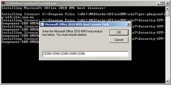 Add Office 2010 KMS Key