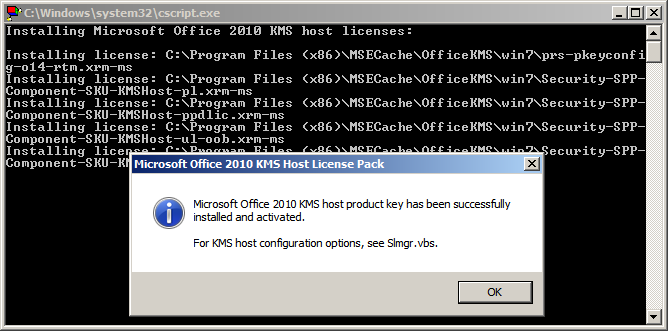 Adding an Office 2010 KMS Key to Your KMS Server.