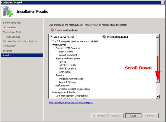WSUS Installation Failed
