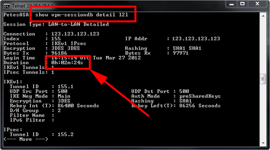 Show VPN uptime