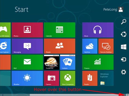 Windows 8 Show Charms Bar