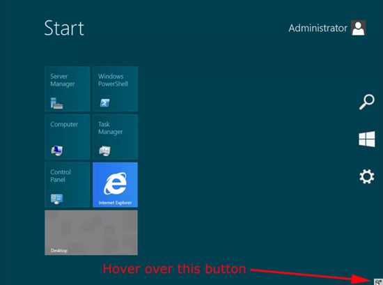 Windows Server 8 Show Charms Bar