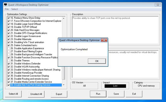 Optimize Desktop for VMware View