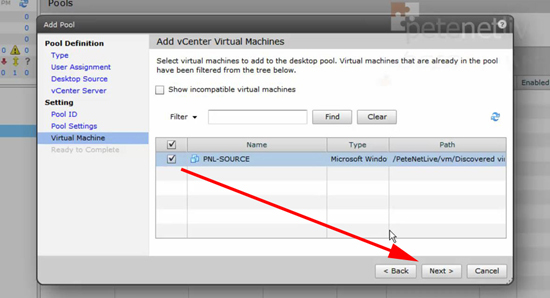 VMware View Select Virtual Machines
