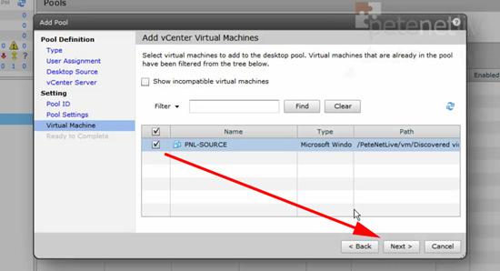 VMware View Select Virtual Machines