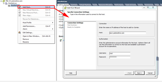 VMware Add Host to Cluster
