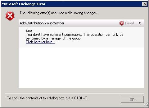 Exchange Group Permissions Error