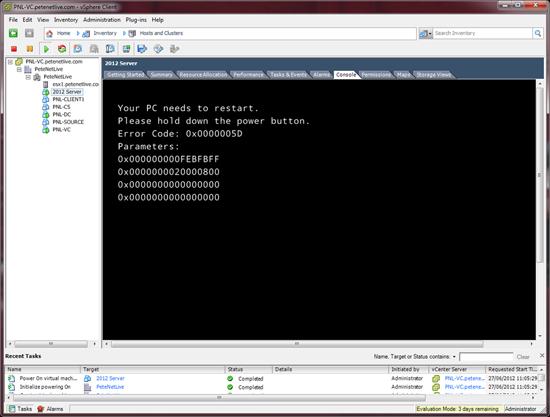 ESX Server 2012 Error