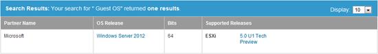 ESX Server 2012 Support