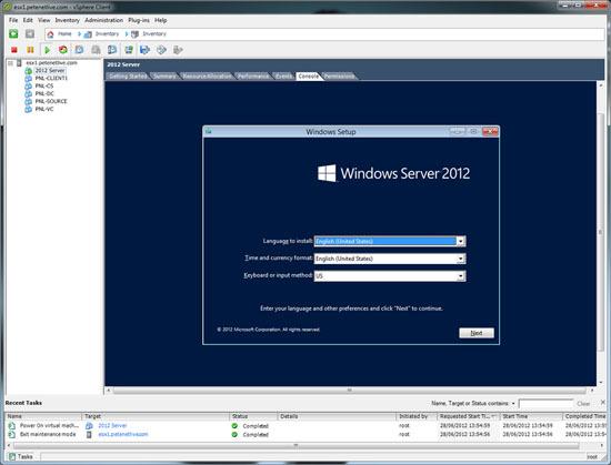 Server 2012 Running on ESX