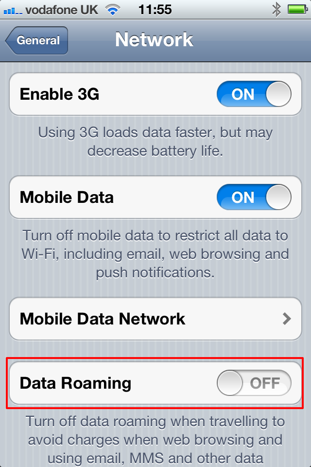 Disable Data Roaming