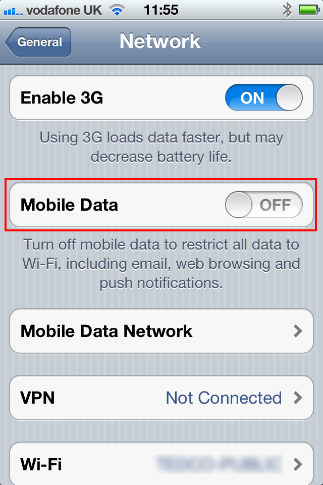 Disable Mobile Data