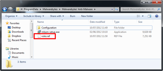 Malwarebytes rules.ref file
