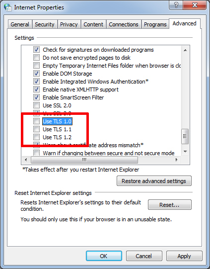 IE TLS Settings