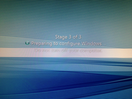 Stage 3 of 3 Preparing to Configure Windows