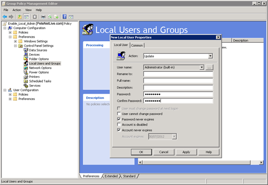 Group Policy Change local administrators password