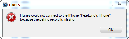 iTunes Pairing Record is Missing