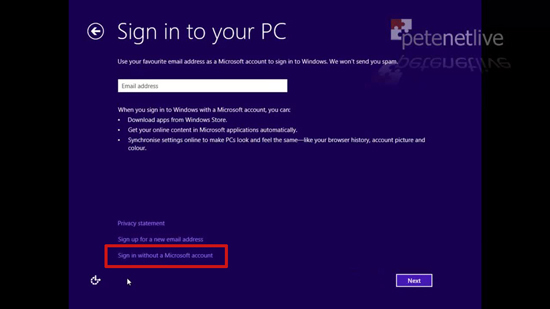 Sign onto Windows 8
