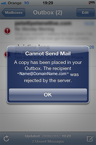 Cannot Send Mail A copy has been placed in your Outbox