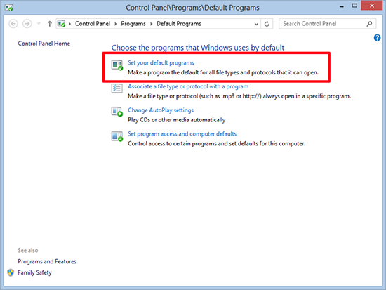 Windows 8 Default Programs