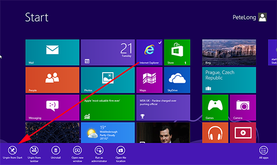 Windows 8 Remove Tile