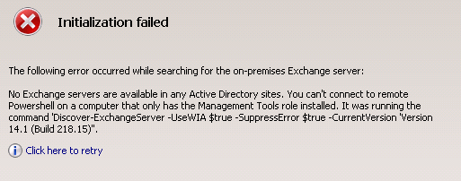 Exchange 2010 Initialization failed.