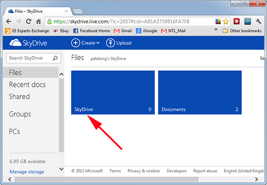 SkyDrive Create Folder