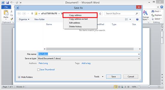 Get SkyDrive Folder URL