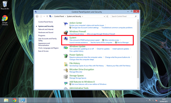 Windows 8 System Settings