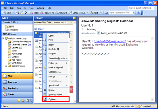 outlook 2010 email message options
