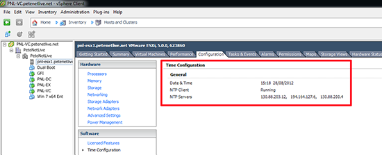 vSphere NTP time sync