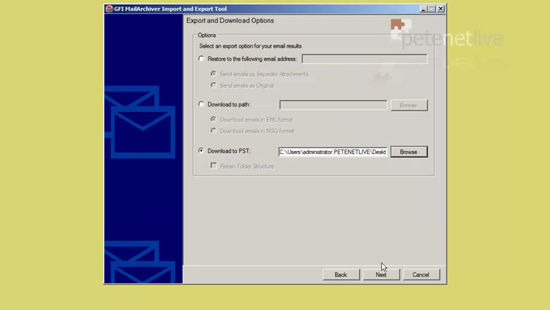Export to PST from MailArchiver