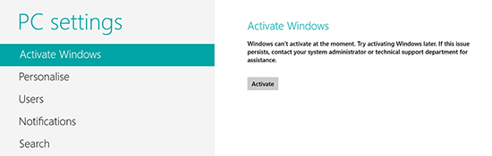 Windows 8 can't Activate