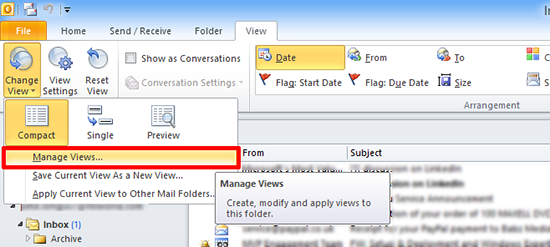 Outlook Modify View