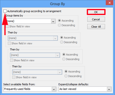 Outlook Disable Group By Date
