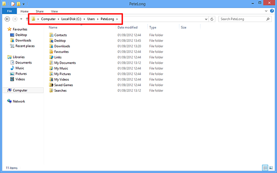 Windows 8 Profile Folders