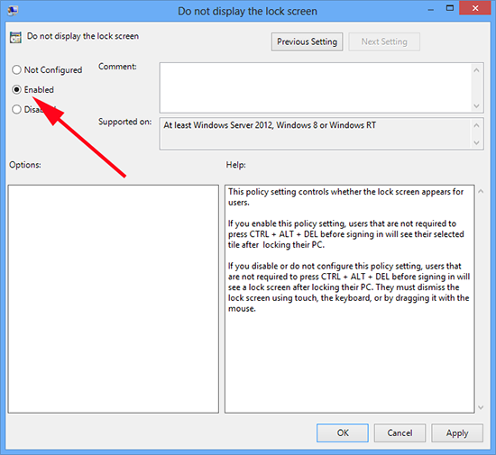 Windows 8 Do not display Lock Screen