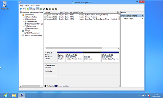 Windows Unallocated Space on the left