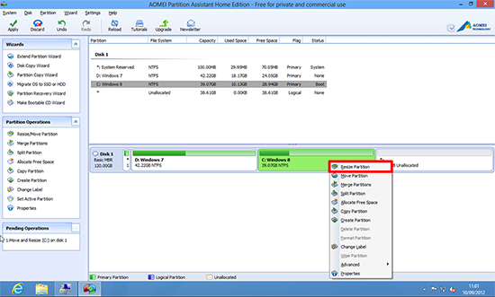 Windows 8 resize partition