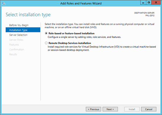 Server 2012 Add Role and Feature