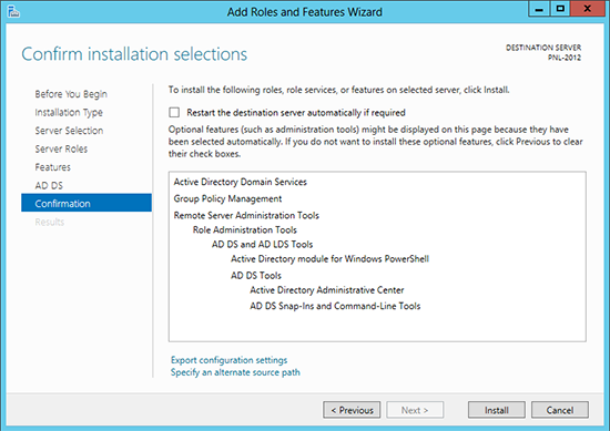 Confirm active directory 2012