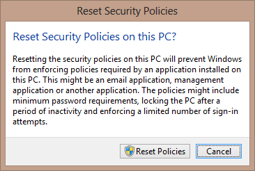 Reset Security Policies