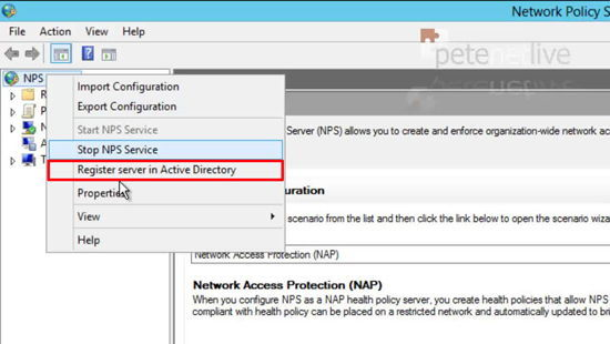 Register NPS in AD Server 2012