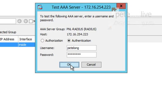 Test ASA RADIUS Authentication