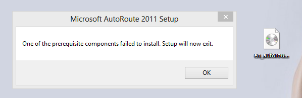 Autoroute 2011 prerequisites failed to install.