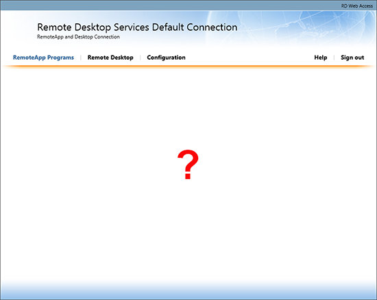 Remote Desktop Web No Icons