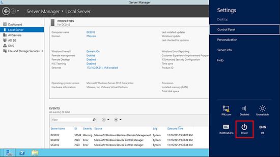 Server 2012 Shut Down