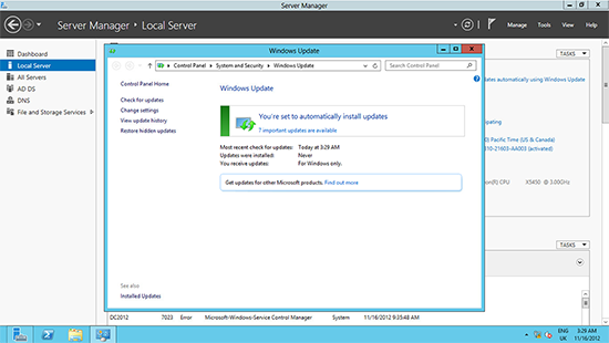 Server 2012 Windows Updates