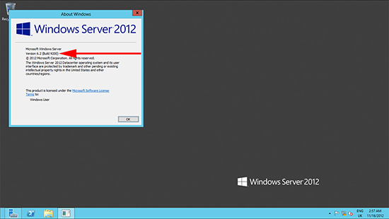 Windows 2012 Version