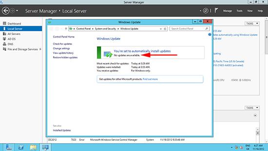 Windows Server 2012 Windows Updates